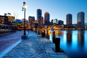 Boston skyline and hotels
